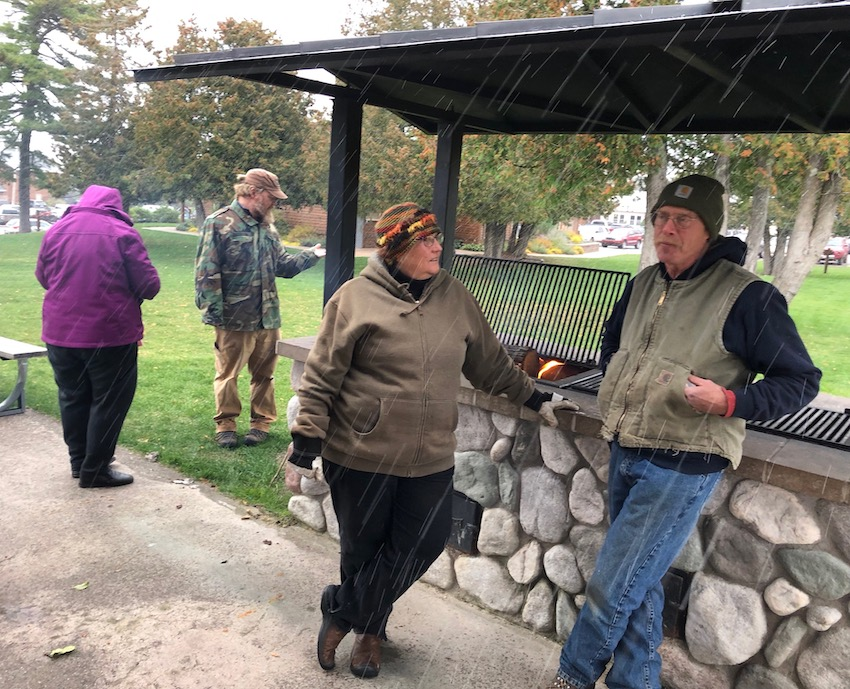 Jessica and Jason's annual cider press in Copper Harbor was blessed by snow