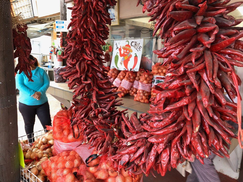 Dried wreaths and ristras of chile peppers in Hatch.
