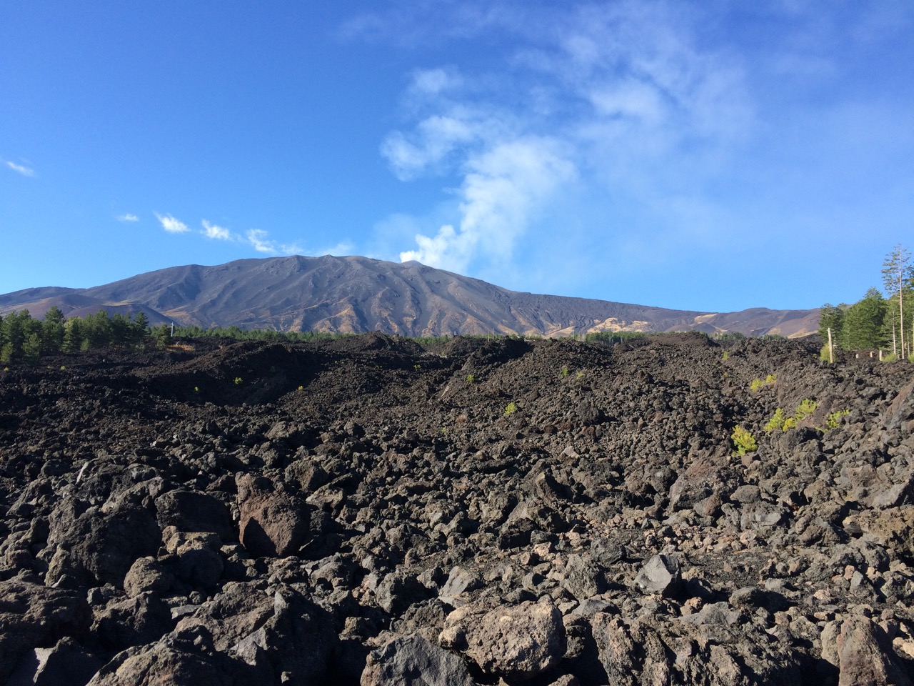 View of Etna from the North side with lava flow in foreground