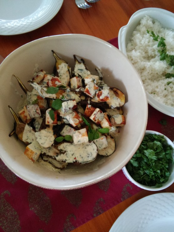 Grilled aubergines with pan-fried paneer and yogurt- mint dressing