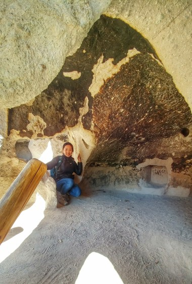 Inside of a cavate, or carved room, at Bandelier National Monument