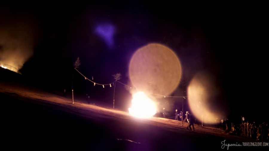 Sacred bonire at burning hill festival in Nara