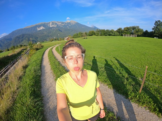 Brittany in front of The Alps near Vintgar Gorge. by @travelingintandem