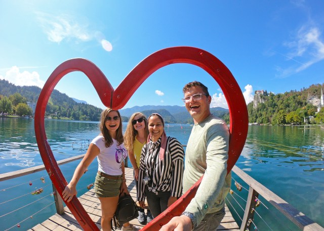 Friends and love at Lake Bled. by @travelingintandem