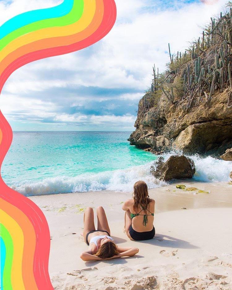 Ladies enjoy the beach in Caracao
