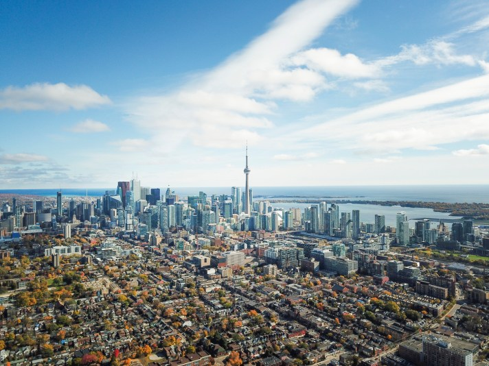 Aerial view of the Toronto skyline in autumn