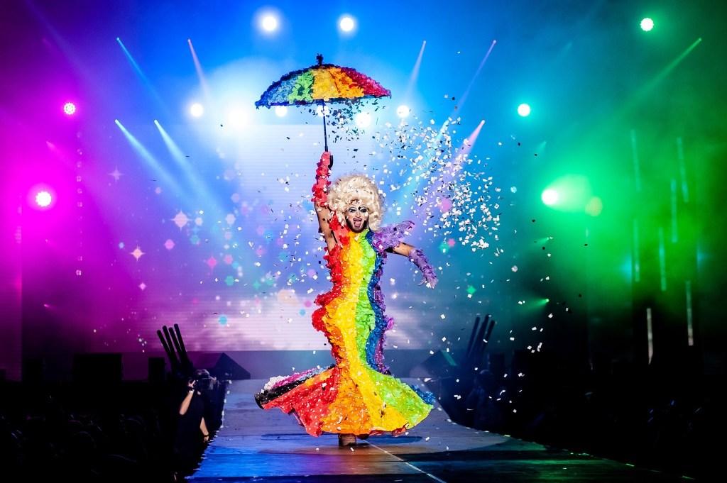 Copenhagen Pride Drag Night performance. Drag queen performs in Copenhagen Pride.