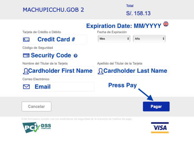 Machu PIcchu Tickets Credit Card