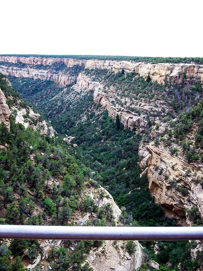 A valley going through the mountains of Mesa Verde.