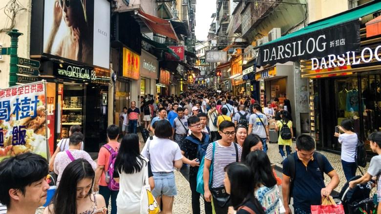 Busy street in Macau