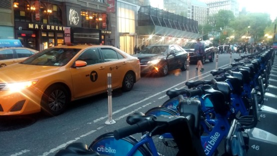 citibike next to citibank, directly across from bald man chocolate on Broadway, NYC