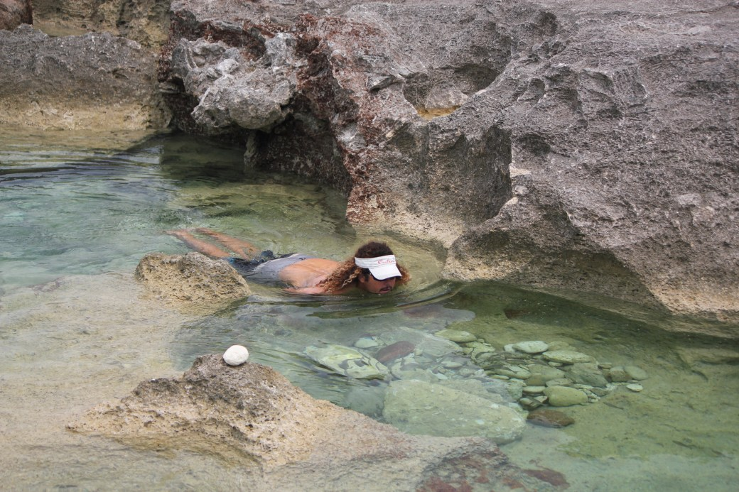 Tour Guide, Tom, Soaking in Queen's Bath; Eleuthera Island; 2011
