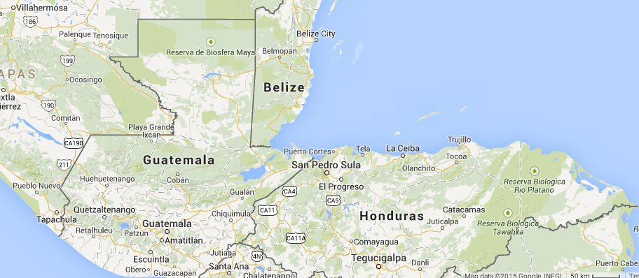 Location of Belize in Central America