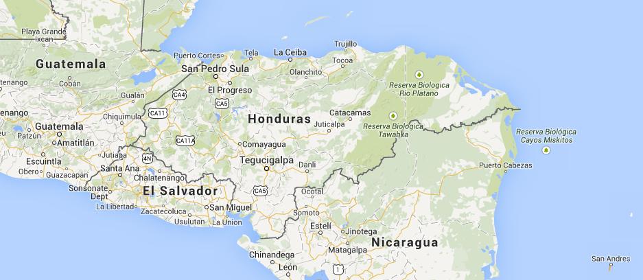 Location of Honduras in Central America