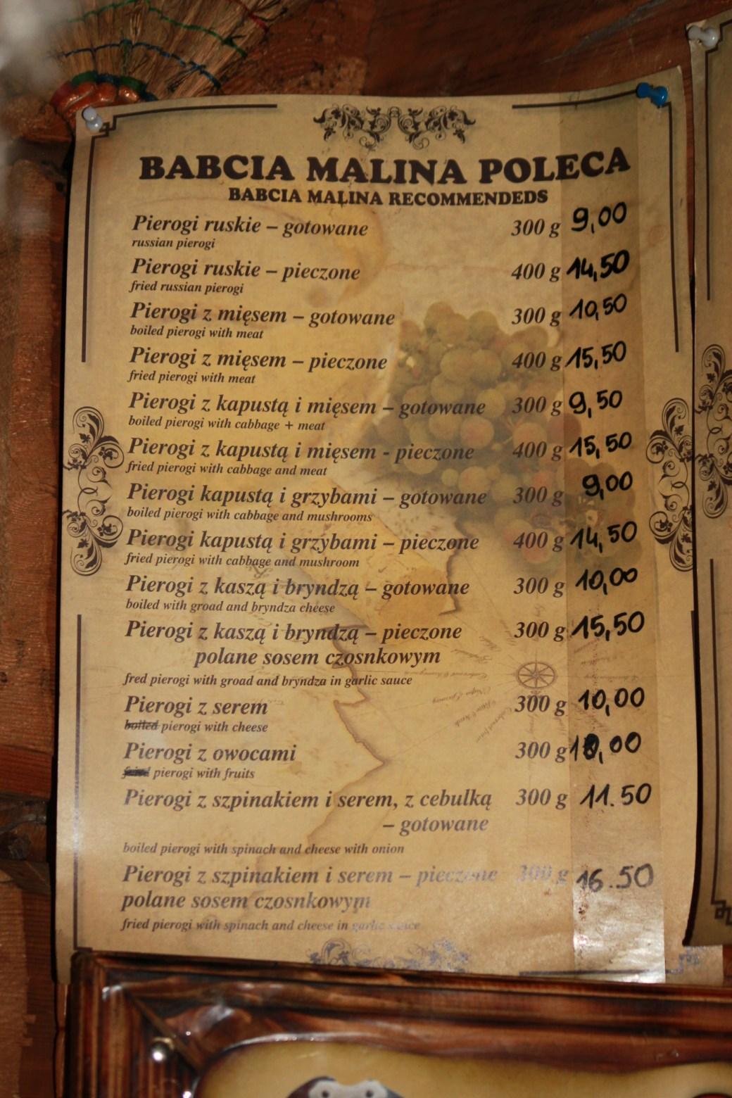 Pierogi Menu; Krakow, Poland; 2011