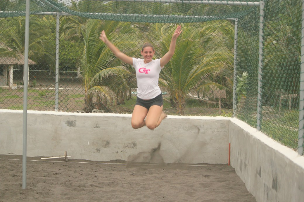 Bridgette Partaking in Her Own Signature Jumpin' Photographs; Monterrico, Guatemala; 2013
