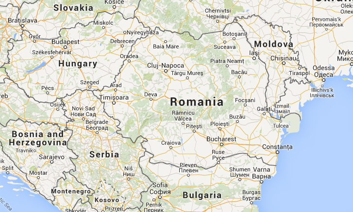 Location of Romania in Europe