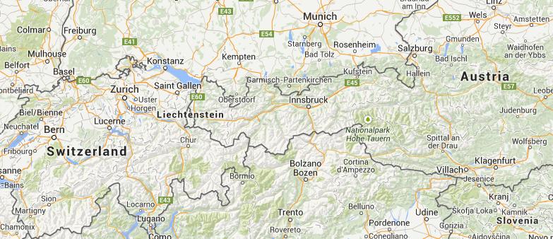 Location of Liechtenstein in Europe