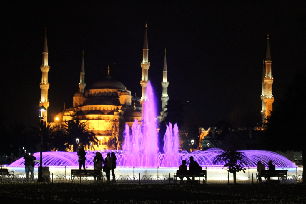 Hagia Sophia with Purple Water Fountain; Istanbul, Turkey; 2013