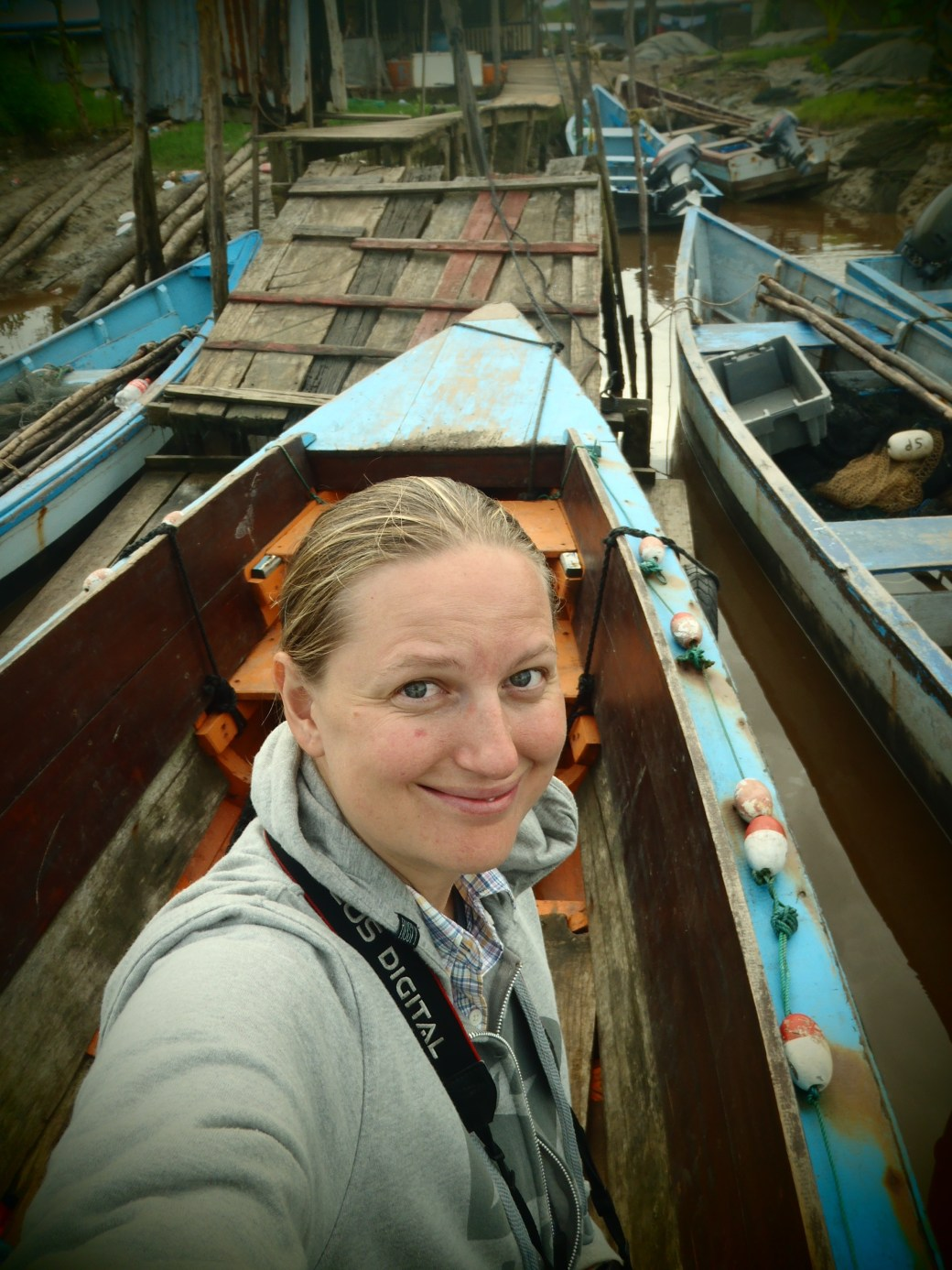 Me on the boat; Paramibo, Suriname; 2013
