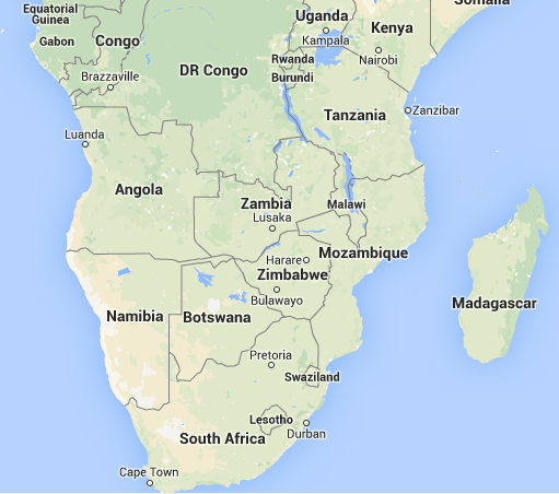 Location of Angola in Africa