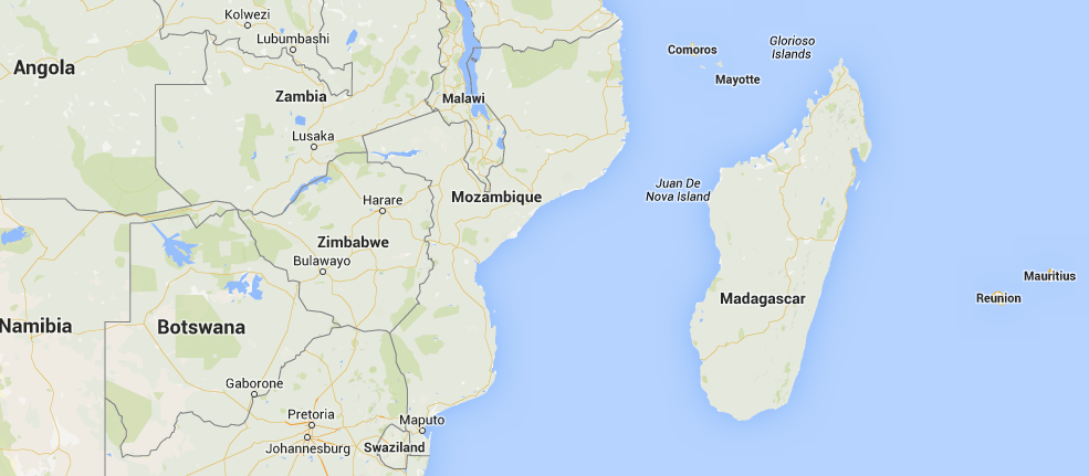 Location of Mozambique in Africa