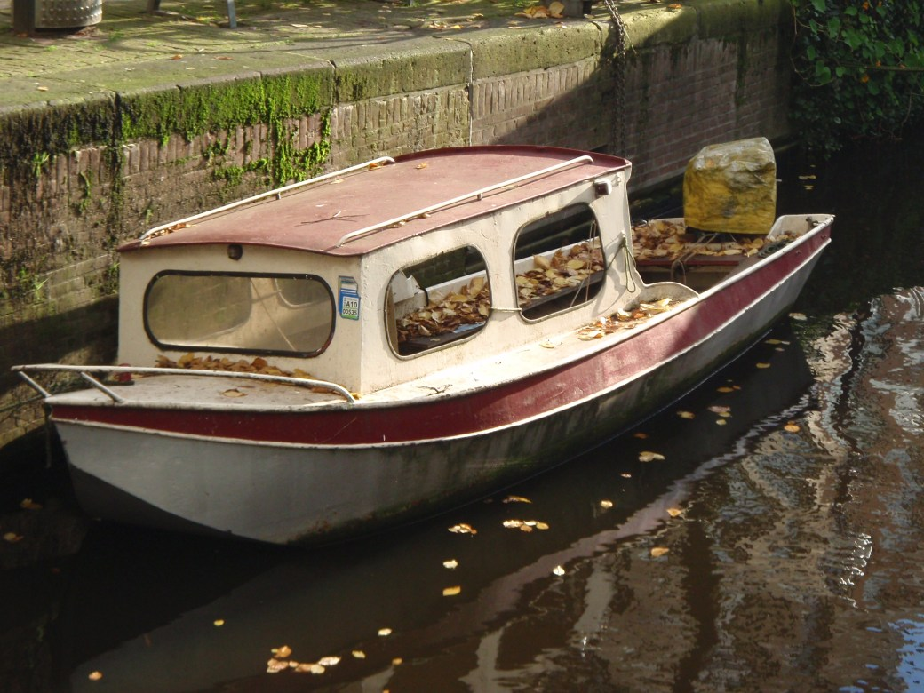 Boat in Canal; Amsterdam, Netherlands; 2010