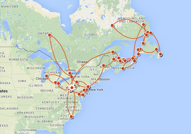 A Close-up of The Voyage of Discovery Phase 1: Part 4 Route in North America