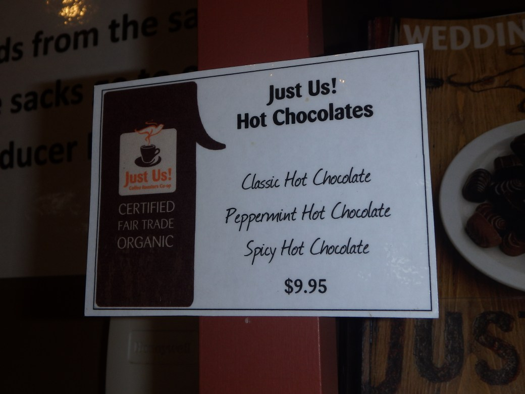 Kinds of Hot Chocolate; Grand-Pré, Nova Scotia; 2015