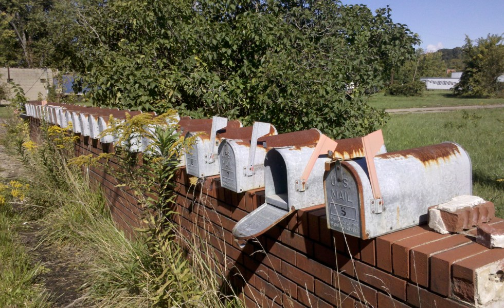 Empty row of mailboxes