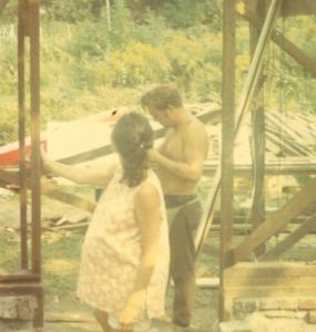 Mom and dad during the garage building. 1970