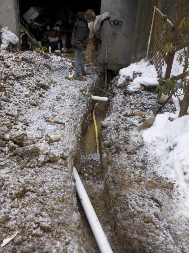 gas line repair contractor farce cold ditch digging lines cut frozen soil