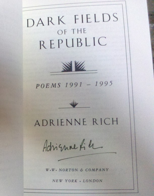 Adrienne Rich poet signed book AWP 2013