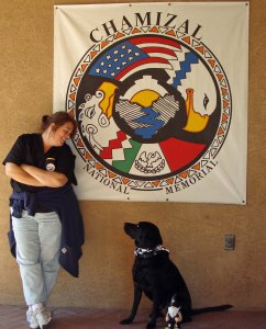 Traveling Marla and Baxter stopping at Chamizal NM in 2010.