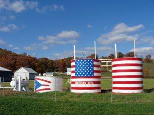 American flag farm silo
