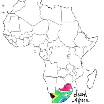 South Africa map rainbow