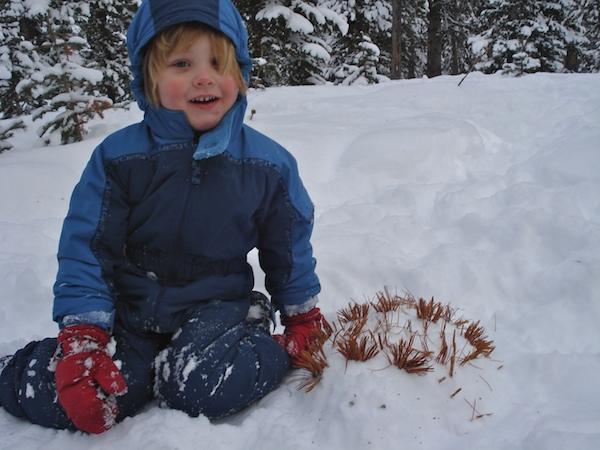 Making snow animals.