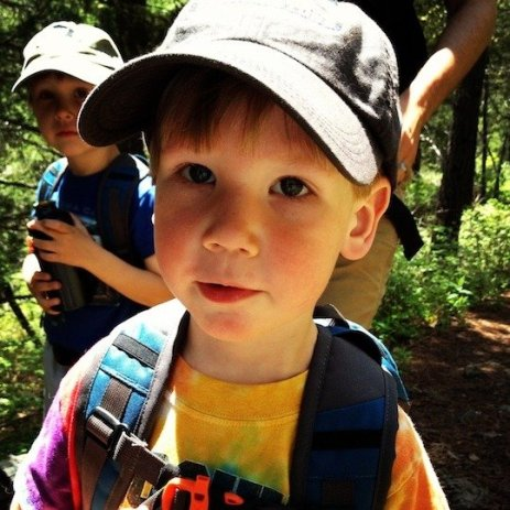Kids on the trail, hiking in Montana