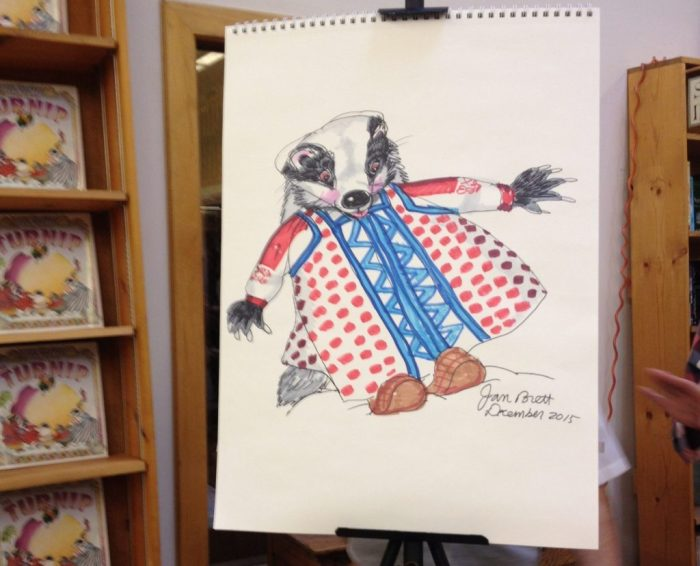 """""""Badger Girl,"""" which she drew in about five minutes while talking to the crowd."""
