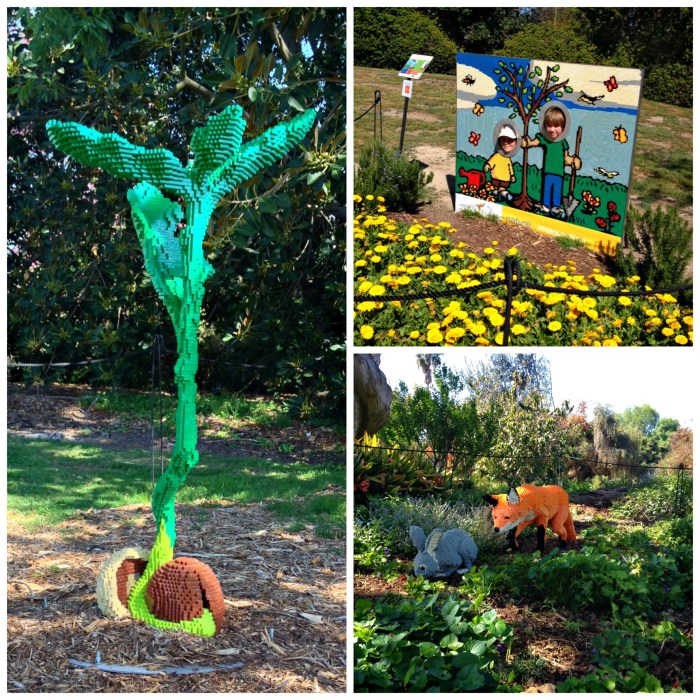Lego art includes a sprouting acorn, Lego cutout, and fox and rabbit, all made of Lego bricks and shown at the South Coast Botanic Garden.