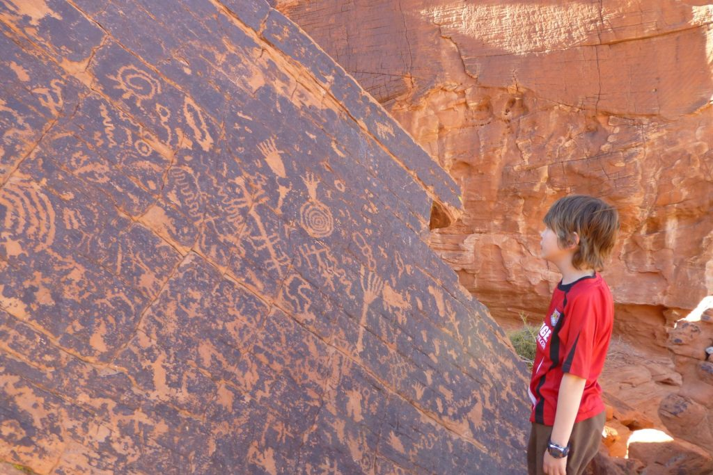 Petroglyph panel near the Atlatl Campground in Valley of Fire State Park