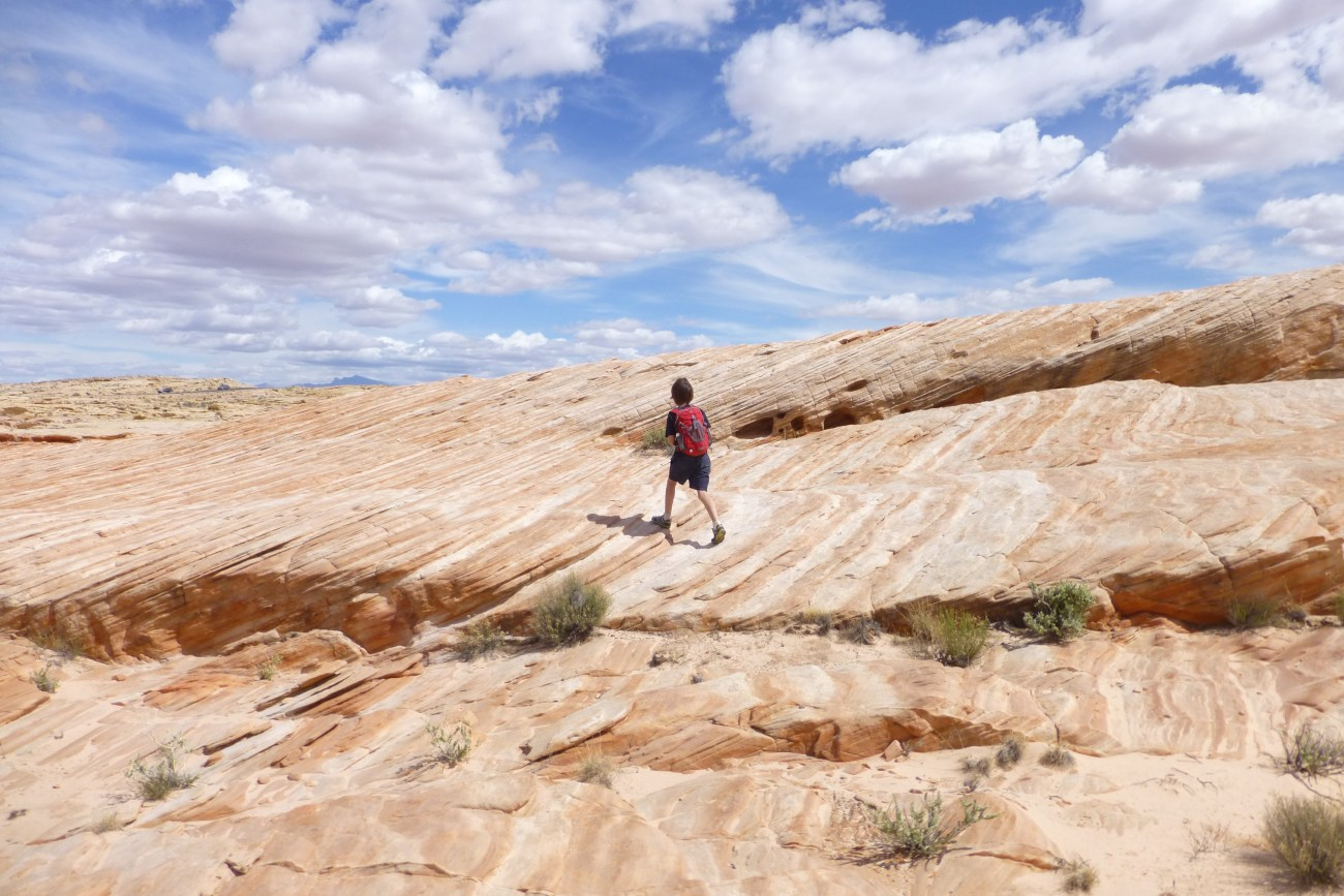Slick rock on the Hiking trails - White Dome and Prospect Trails in Valley of Fire State Park, NV, Mojave Desert