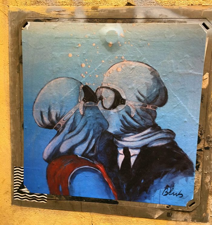 Blub street art in Florence. Art knows how to swim underwater art Italy