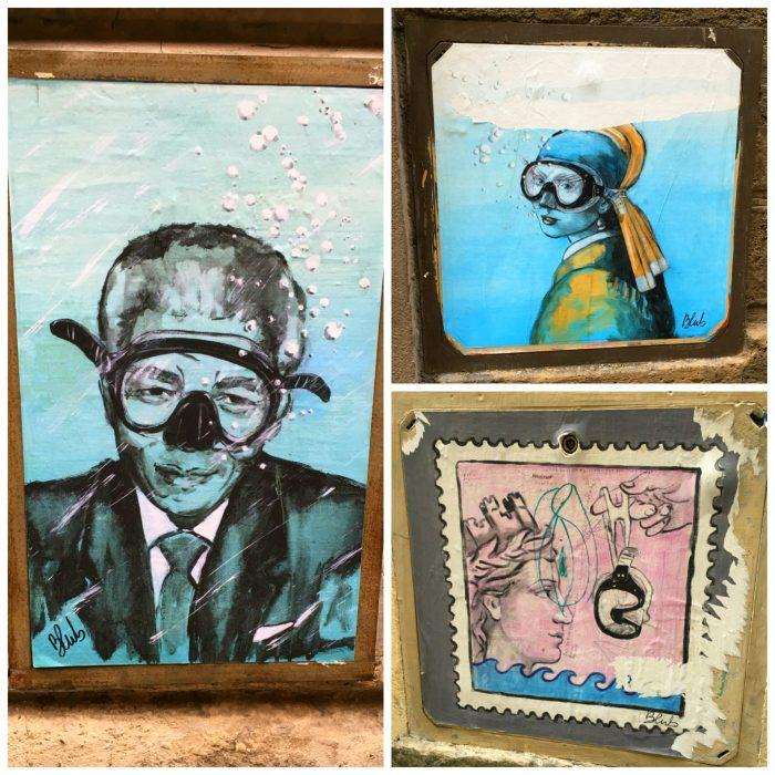 Blub Florence street art. Art knows how to swim underwater art Italy