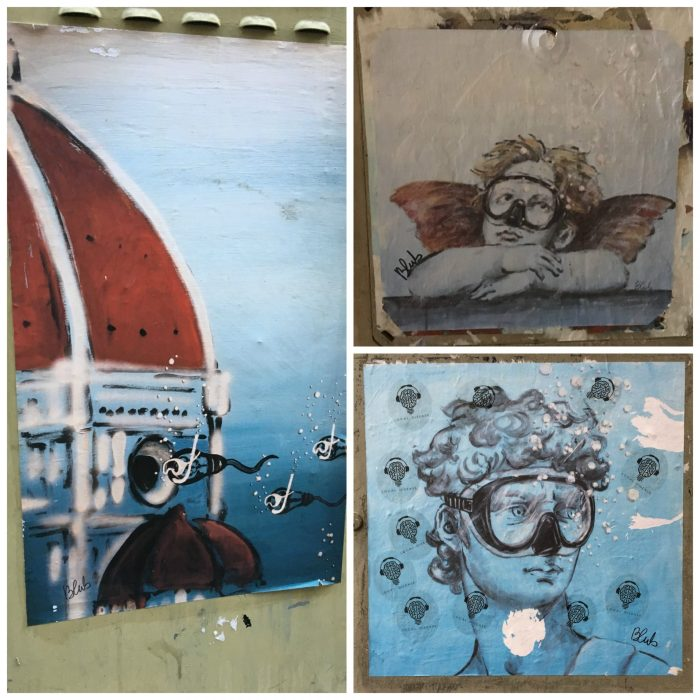 Blub Florence guerrilla art. Art knows how to swim underwater art Italy