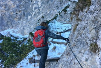 cables and stairs help you climb Predigtstuhl in the Bavarian Alps