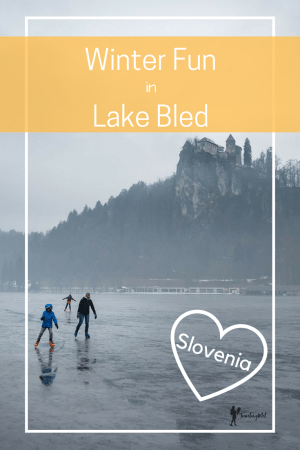 Lake Bled Slovenia winter visits are full of family fun: ice skating, Lake Bled castle, cream cake, snowshoeing, and more.