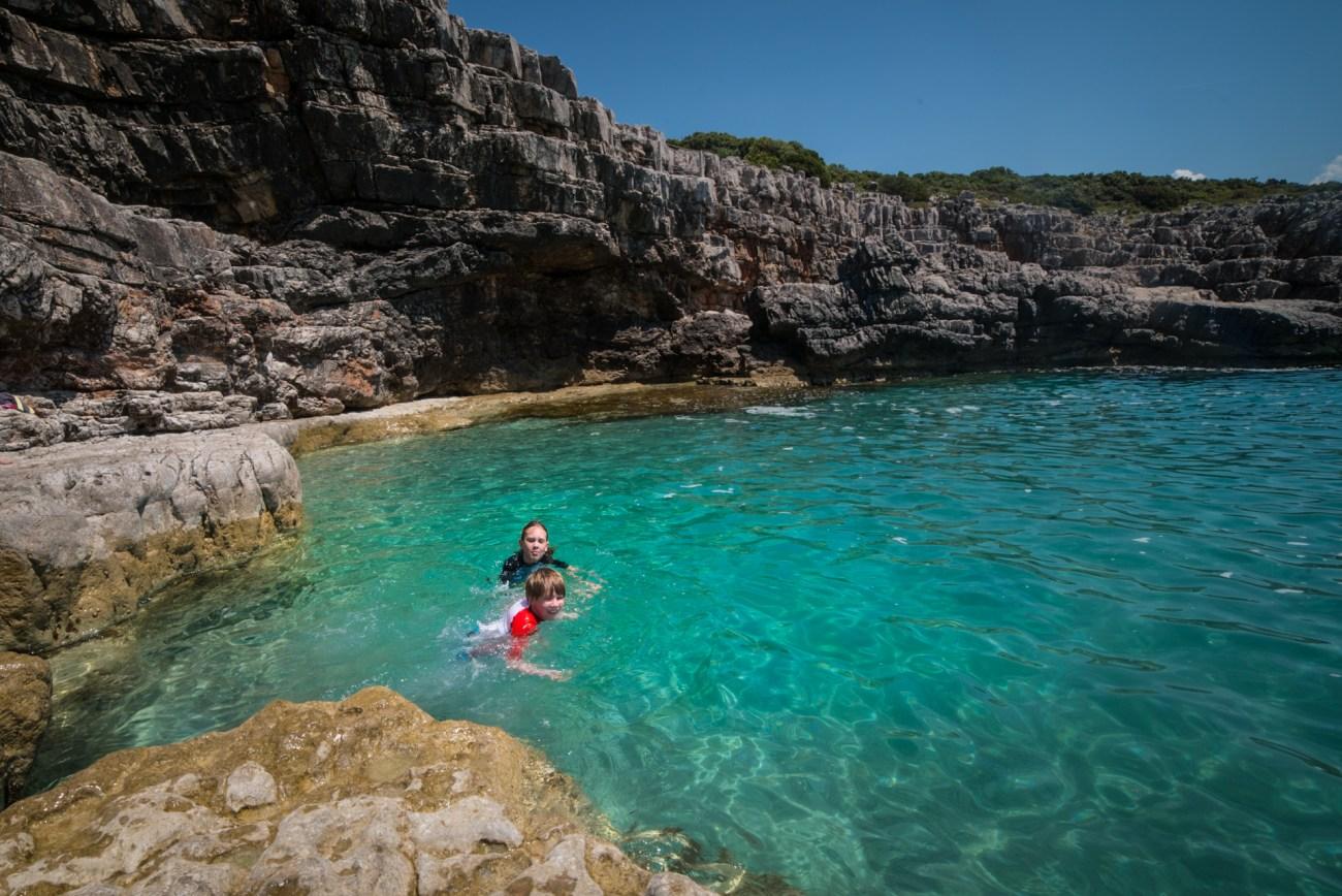 swimming in montenegro before kayaking in kotor