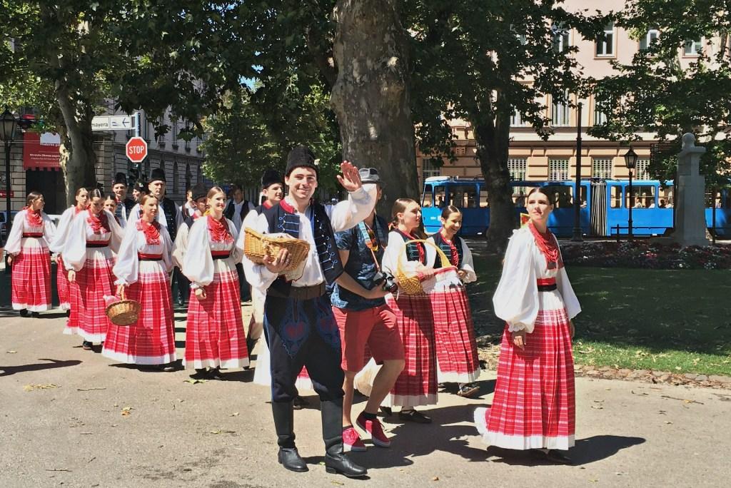 Traditional costumes at a festival in Zagreb, Croatia