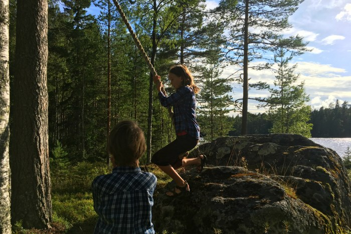 rope swing a Swedish summer cottage